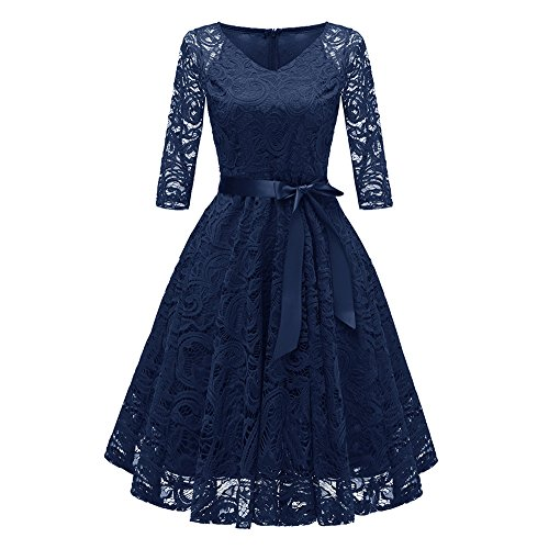 iLUGU Midi Dress for Women Half Sleeve V-Neck Bowknot Belt A-Line Empire Line Floral Lace Princess Cocktail Party Gown Navy -