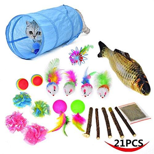 Mrwan 21 Cat Toys Kitten Toys, Tunnels, Balls, Mice Toys, Feather Toys, Refillable Catnip Toys with Extra Catnip for Refill for Cat Kitty Kitten