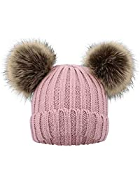 Simplicity Kids Pom Pom Hat Fleece Girls Winter Beanie Hat Kids Beanie Hat, Pink
