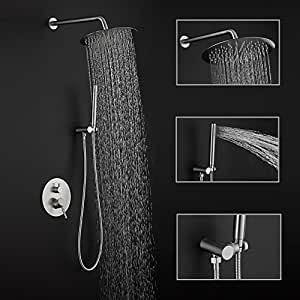 Rain Shower Systems Stainless Steel Finish Wall Mounted Shower Combo Set Bathroom Luxury Rainhead Handheld Shower Heads
