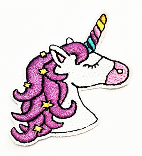 Nipitshop Patches Rhino Horn White Unicorn Horse Star Hair Beautiful Cartoon Kids Patch Symbol Jacket T-Shirt Patch Sew Iron on Embroidered Sign Badge Costume