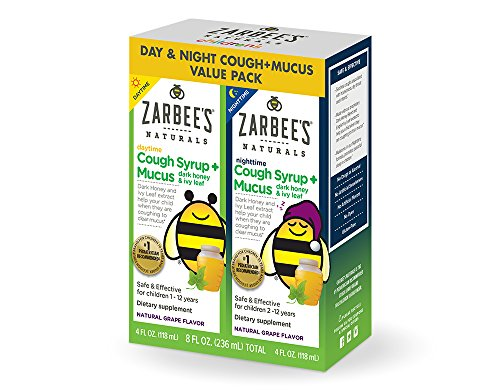 Zarbee's Naturals Children's Cough Syrup + Mucus with Dark Honey & Ivy Leaf Daytime & Nighttime, Natural Grape Flavor, 4 oz Bottles (Value Twin Pack) Childrens Formula Cough Syrup