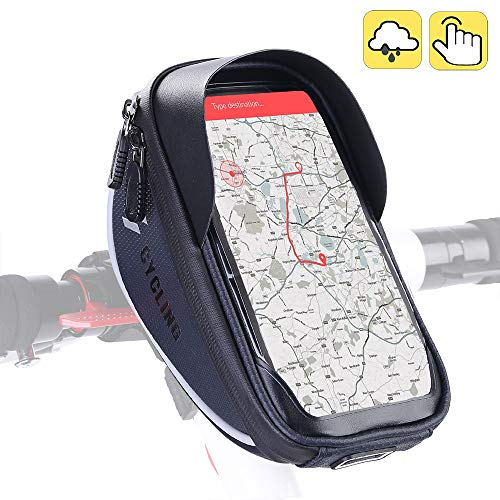 "Aselife Waterproof Bike Handlebar Bag,Bicycle Phone Mount,Bicycle Phone Mount Holder Pouch Bag,Cycling Frame Transparent Touchable Case 360 Degrees Rotatable for Under 6"" Smartphone"