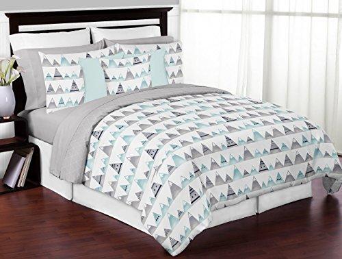 - Sweet Jojo Designs 3-Piece Navy Blue, Aqua and Grey Aztec Mountains Boy or Girl Full/Queen Kid Childrens Teen Bedding Comforter Set