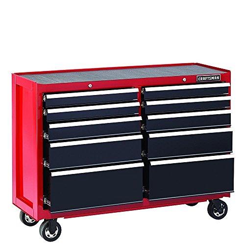 Waterloo Cart (Craftsman 52-Inch 10-Drawer Soft Close Rolling Cart (Red/Black))
