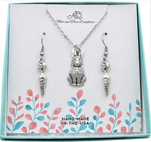 - Bunny rabbit necklace and carrot earrings set. Jewelry sets. Necklace and matching earrings. Bunny charms. Bunny necklace. Carrot earring