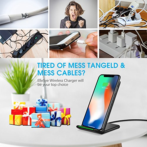 iPhone X Wireless Charger, ELLESYE 3-Coil Qi Wireless Charger Stand for iPhone X, iPhone 8/8 Plus, Galaxy Note 9/S9/S9 Plus/Note8/S8/S8 Plus/S7/S7 Edge/S6 Edge Plus, LG G6 and All QI-Enabled Devices by ELLESYE (Image #4)