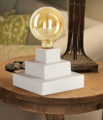 Table Lamp Industrial Design with Antique Edison Globe,White Cement Base, 40 Watts Osram Amber Glass Bulb, Gifts for - Jolie Of Style