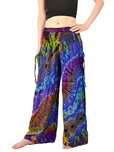 Orient Trail Women's Bohemian Yoga Tie-dye Wide Leg Palazzo Pants M/L Sea Blue