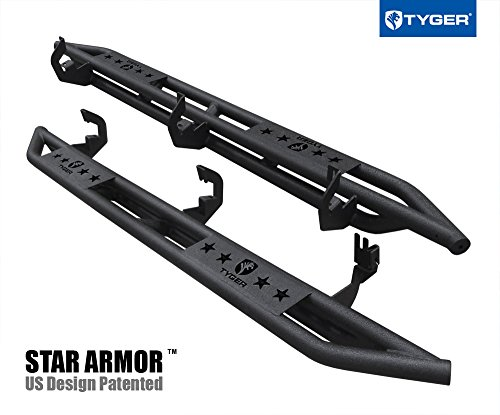 Tyger Auto TG-AM2C20028 Star Armor Kit for 2007-2018 Chevy Silverado / GMC Sierra 1500 2500 3500 Extended/Double Cab | Textured Black | Side Step | Nerf Bars | Running Boards