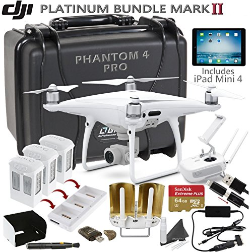 DJI Phantom 4 Pro w/ Platinum II Bundle: Includes iPad Mini 4, 3 DJI Phantom 4 Batteries, Go Professional Carrying Case w/ Wheels, SanDisk 64GB Extreme Pro MicroSD Card and more…
