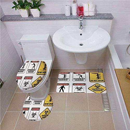 iPrint Pattern,Zombie Decor,Warning Signs for Evil Creatures Paranormal Construction Do Not Open Artwork,Multicolor,Bath mat Set Round-Shaped Toilet Mat Area Rug Toilet Lid Covers - Neon New England Patriots Sign
