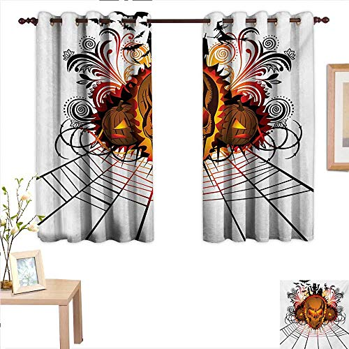 Halloween Thermal Insulating Blackout Curtain Angry Skull Face on Bonfire Spirits of Other World Concept Bats Spider Web Design 63