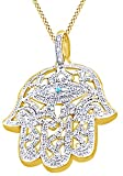 Round Cut Cubic Zirconia Hamsa Hand Hip Hop Pendant in 14k Yellow Gold Over Sterling Silver (1.51 Cttw)