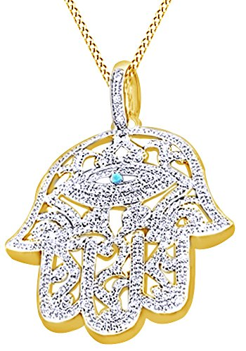 Round Cut Cubic Zirconia Hamsa Hand Hip Hop Pendant in 14k Yellow Gold Over Sterling Silver (1.51 Cttw) by AFFY