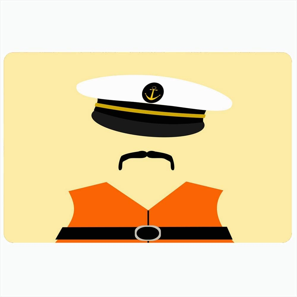 Onete Bath Rug 20x30 Inches Hat Sailor Wearing Sail Life Design Jacket Men People Anchor Miscellaneous Graphic Moustache Boat Bathroom Non Slip Mats Plush Decor Backing Doormat
