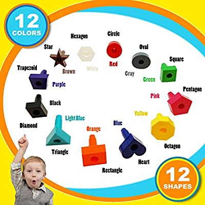 Skoolzy Peg Board Toddler Stacking Toys - STEM Color Sorting Learning Games - Montessori Toys for 1, 2, 3, 4 Year Old Boys and Girls - 38pcShapes Puzzle Educational Manipulatives, Ebook, Tote: Toys & Games