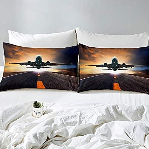 BCDJYFL 3D Housse De Couette Avion 3D Impression Enfant Garçon Les Jeunes Parure De Lit Simple Chambre Provisions.180X220Cm(Pas De Remplissage)