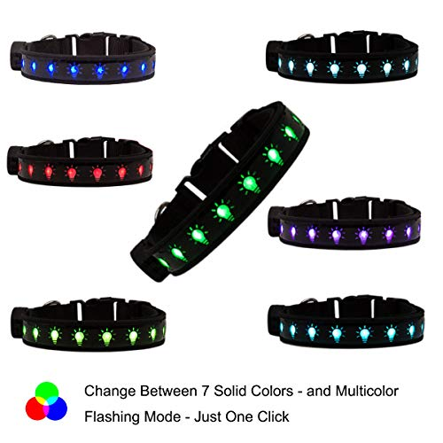 Dog Spot Usb - Glowseen LED Dog Collar, 7 Colors LED Spot Light,USB Rechargeable,Reflective Flashing Waterproof Dog Collar for Night Safety-S
