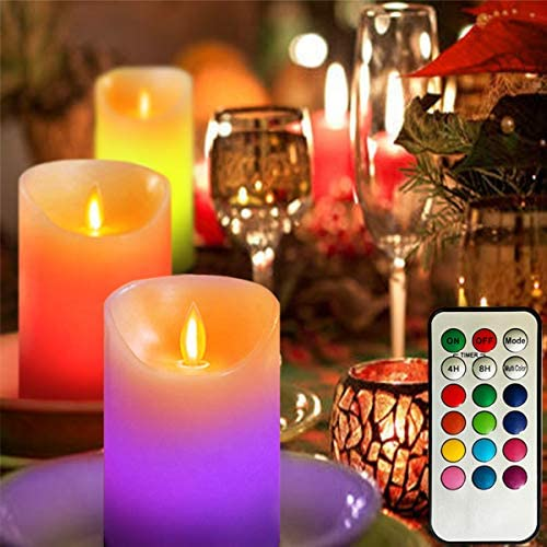 Awinking Color Changing Candle Lights with 12 Colors, 4 5 6-Inch Set of 3 Real Wax Battery Operated Flickering Pillars Candles Lights with Dancing LED Flame and Timed Remote