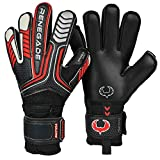 Renegade GK Vulcan Raze Flat Cut Level 3 Outdoor/Indoor Goalie Gloves for Kids with Fingersaves (Size 6) - Kids Soccer Goalie Gloves Youth - Girls & Boys Soccer Gloves Kids - Black & Red