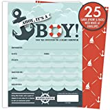 Baby : It's A Boy Nautical Baby Shower Invitations with Tear-off Diaper Raffle Tickets. 25 5x7 Fill in the Blank Style Invites with White A7 Envelopes.