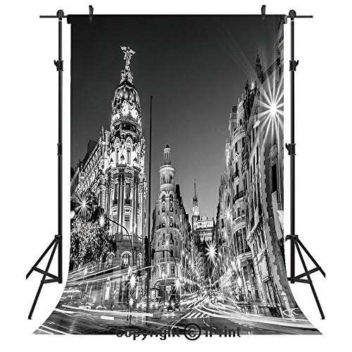 - Black and White Decorations Photography Backdrops,Madrid City Night Spain Main Street Ancient Architecture Decorative,Birthday Party Seamless Photo Studio Booth Background Banner 5x7ft,Grey