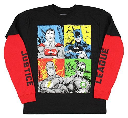Batman+Shirts Products : DC Comics Big Boys' Justice League Mock Layer Long Sleeve T-Shirt