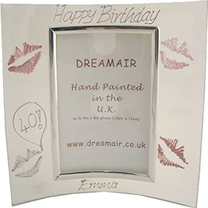 Personalized 40th Birthday Gift Photo Frame Lips P MAXIMUM 25 CHARACTERS