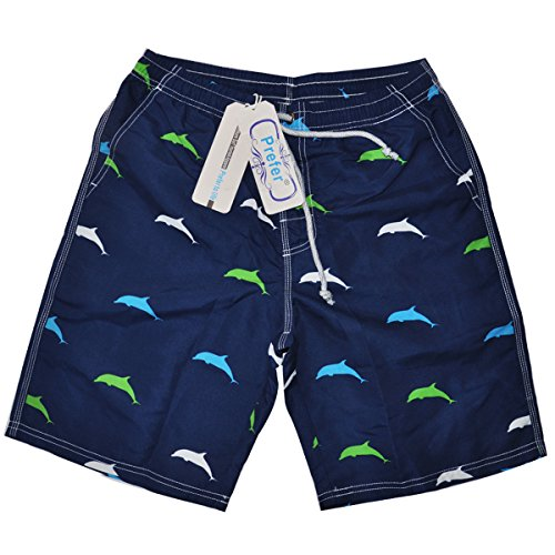 Prefer To Life Men's Surfing Shorts With Pockets Casual Beach Board Shorts Quick Dry Swim Trunks (2XL Size, Dolphin Design Dark Blue - Way Beach The Broad At