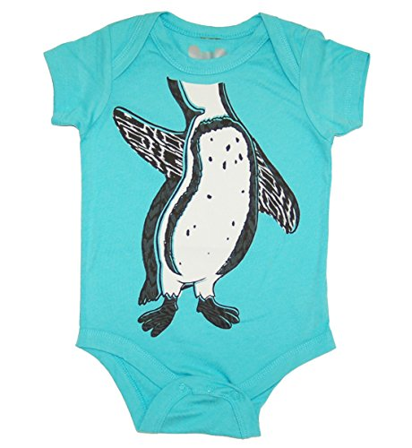 [Peek A Zoo Infant Baby Become an Animal Short Sleeve Onesie Bodysuit - Penguin Carribbean Blue (0/6] (Baby Costumes Penguin)