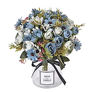 Sunm boutique Artificial Rose Daisy Flower Bouquet, Silky Rose Bouquets with Daisy and Leaves Floral Bouquets for Wedding Arrangements Table Centerpieces Garden Party Home Decor 16
