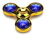Full Metal Triple Jewels Toy Fidget Spinner, Great for Anxiety, Focusing, ADHD, Autism, Quitting Bad Habits, Staying Awake (Gold)