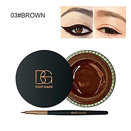 Beauty Glazed Fix Line Eyeliner Gel for Women with Brush Semi Permanent Waterproof Eyebrow Gel for Women Beauty Winged Liner-White