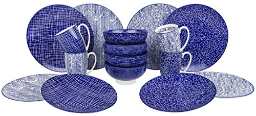 Blue Porcelain Dinnerware - VANCASSO Porcelain Ceramic Dinnerware Set for 4 person, Blue Pattern Serving Set of Series Takaki with Cup Bowl Plates Platters for Family Dinner, Party, Feast, 16-Pieces, Blue