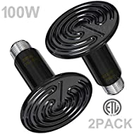Wuhostam 100W 2 Pack Infrared Ceramic Heat Lamp,Black Reptile Emitter Bulb for Pet Coop Heater Chicken Lizard Turtle Brooder Aquarium Snake, No Harm No Light, ETL Listed