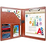 Professional Business Padfolio | Clipboard Resume Portfolio Folder | Brown PU Leather File Folders | Interview Presentation Office Organizer Folder | with Card Slots Pen Holder | Fathers Day Gifts
