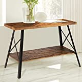 Olee Sleep 48'' Chandler Solid Wood & Dura Metal Legs Sofa Table / TV stand / End Table/ Side Table / Accent Table / Office Table/ Computer Table / Dining Table / Natural Wood Top, Rustic Brown