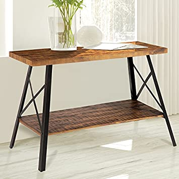 Olee Sleep 48 Solid Wood Dura Metal Legs Sofa Table TV Stand End Table Side Table Accent Table Office Table Computer Table Dining Table Natural Wood Top, Rustic Brown