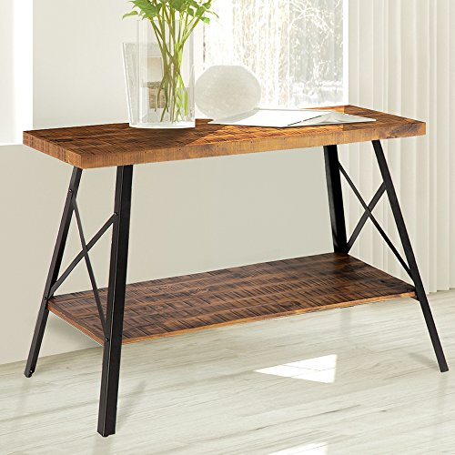 Olee Sleep 48'' Chandler Solid Wood & Dura Metal Legs Sofa Table / TV stand / End Table/ Side Table / Accent Table / Office Table/ Computer Table / Dining Table / Natural Wood Top, Rustic Brown by Olee Sleep