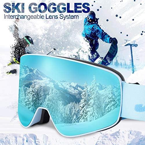 JK MOTION Ski Goggles Men Youth Boys Women and Girls Anti Fog Snowboard Goggles UV400 ATV Snow Skiing Ski Glasses OTG Over-The-Glasses Interchangeable Lens Flexible Soft TPU Frame Helmet Compatible