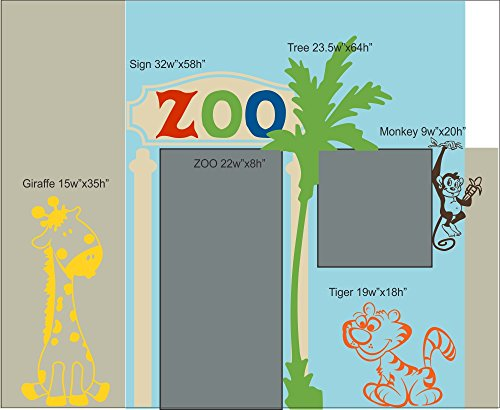 Wall Decor Plus More WDPM3807 ZOO Theme Playhouse Kids Room Wall Decals Vinyl Stickers Wall Decor Graphics, Multi-Colors, 6 Piece by Wall Decor Plus More