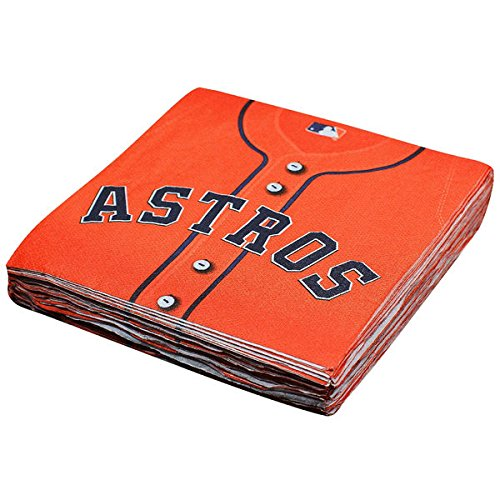 LicensedMLB Houston Astros Party Luncheon Party Napkins Tableware, Paper, 6'' x 6'', Pack of 36