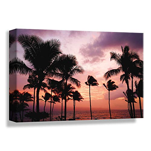 B2T Palm Tree Sunset Avenue, Glory Afternoon, Design Pick by Winifred, Canvas Wrap - 16x24 inches