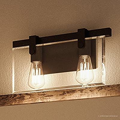 """Luxury Modern Farmhouse Bathroom Vanity Light, Medium Size: 8.38""""H x 14.875""""W, with Industrial Chic Style Elements, Olde Bronze Finish, UHP2452 from the Bristol Collection by Urban Ambiance"""