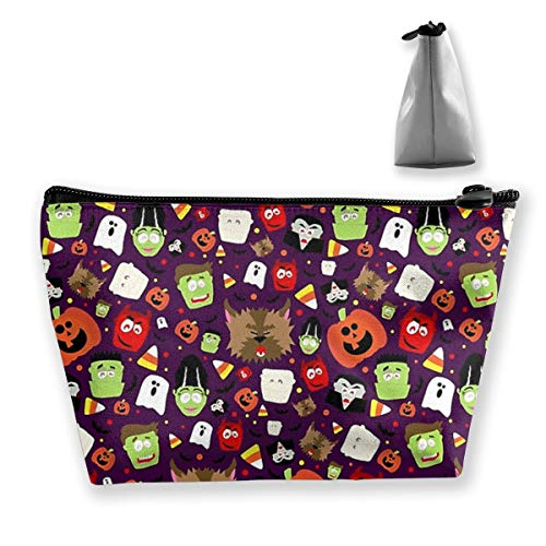 Happy Pumpkin Halloween Small Travel Makeup Pouch Toiletries Storage Organizer Bags