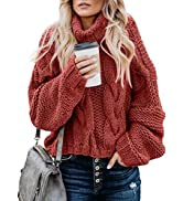 Actloe Turtleneck Sweater Women Long Sleeve Batwing Sleeve Loose Oversized Chunky Knitted Pullove...