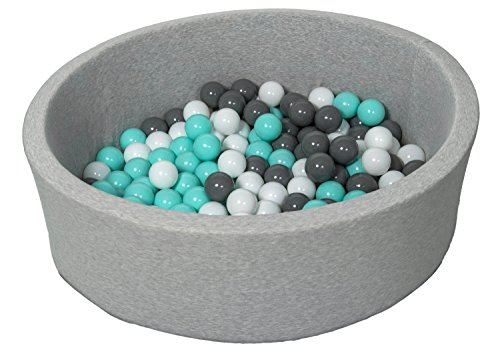 Soft Jersey Baby Kids Children Ball Pit with 150 balls, Gift (Balls colours: white, grey, turquoise)