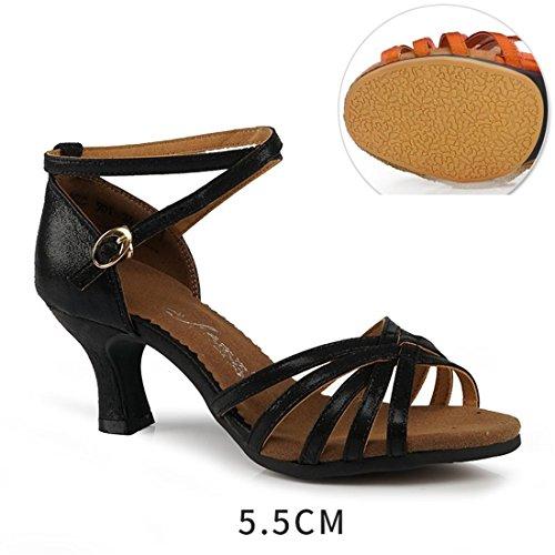 de Latino 5cm WXMDDN Negro 5 Mujer Aire Blando Zapatos Al 5cm de Adult Baile de Baile Práctica Fondo de Zapatos Exterior 5 Libre Principiante Baile Zapatos Black de Baile Zapatos wttXr