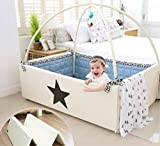 Dreamb Transforming Baby Bumper Bed Play Mat Lucky star (mat(ivory)+mobile+Fabric guard(beige))